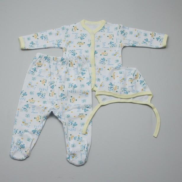 Compleu 3 piese, bumbac 100%, pentru bebelusi: Pieptaras, pantaloni cu botosei, caciulita.